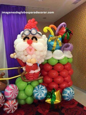 decoracion para navidad con globos noel