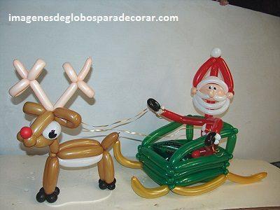 decoracion para navidad con globos trineo