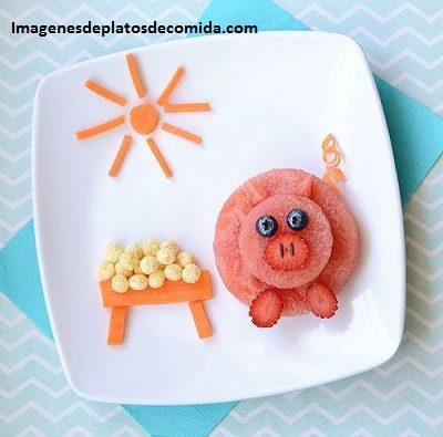 comida con formas para niños frutas