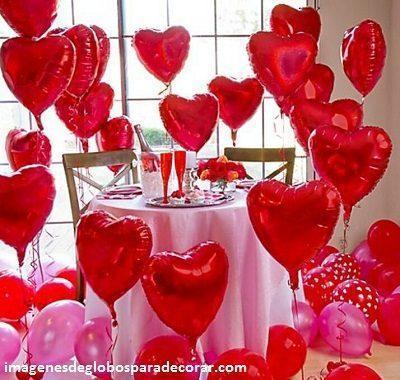 decoraciones romanticas con globos cena