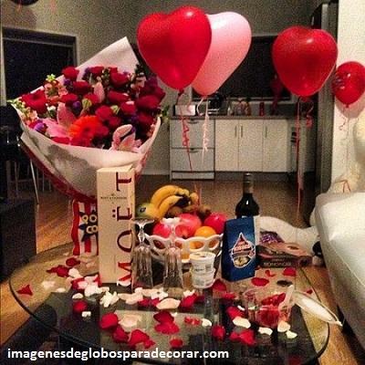 decoraciones romanticas con globos amor