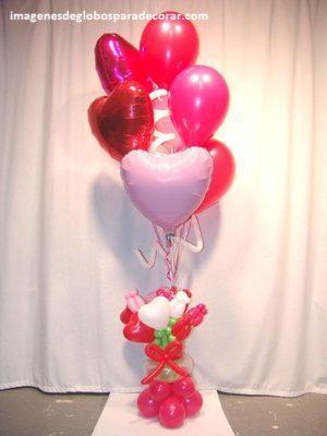 decoracion con globos para san valentin adornos