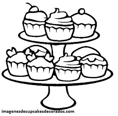 Cuatro Lindos Dibujos De Cupcakes Para Colorear E Imprimir