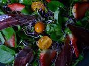 Ensalada berros brotes, tomates cherry cecina ciervo.