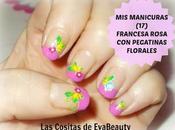 manicuras (17): Francesa rosa pegatinas florales.