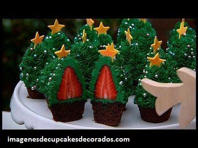 imagenes de cupcakes navideños crema