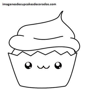 dibujos de cupcakes tiernos para colorear dibujar