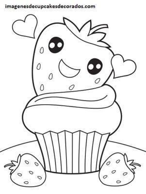 Cuatro Imagenes Con Dibujos De Cupcakes Tiernos Para Colorear