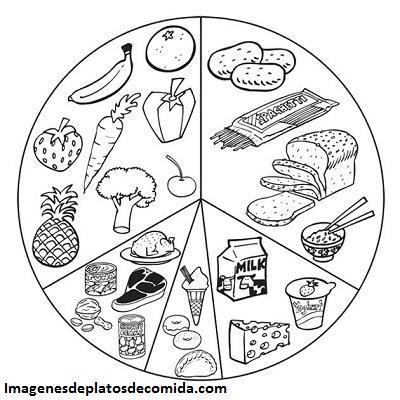 Cuatro fotos con dibujos de comidas saludables para colorear - Paperblog