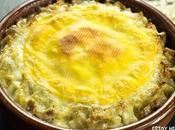 Receta croziflette, gratín pasta, panceta queso. Cocina francesa