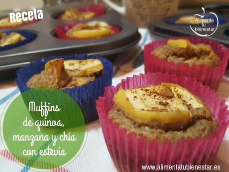 Muffins de quinoa, manzana y chía con estevia