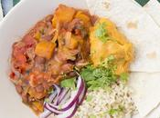 Chili vegetariano calabaza salsa dulce boniato coco
