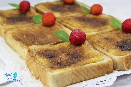 Torrijas borrachas de natillas Ana Sevilla con Thermomix.