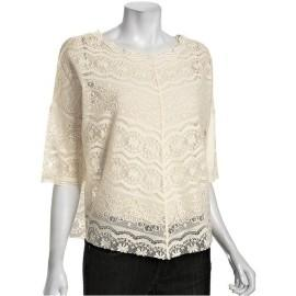 Free People ivory lace 'Audrina' scalloped dolman top