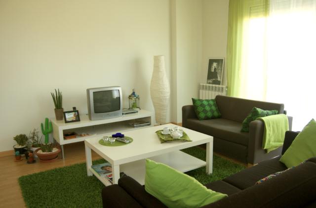 Color del sofa que pegue con verde pistacho decorar tu for Salones pintados en gris