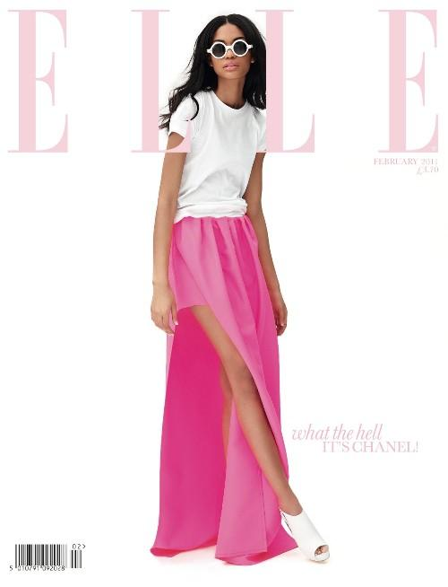 Chanel Iman of Jil Sander in Elle UK February