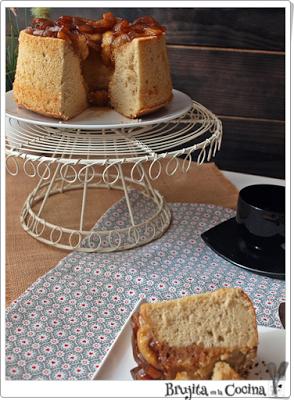 Chiffon cake de manzana al caramelo