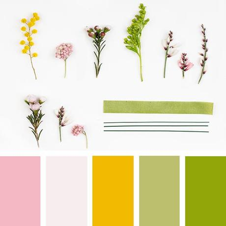 spring sylvester flowers color palette, Pantone greenery and yellow buttercup