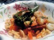Fideua verduras blini gambas