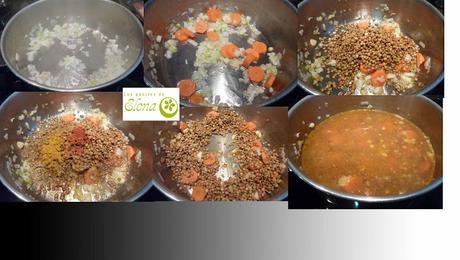 Crema de lentejas con curry, comino y pipas de calabaza