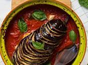 Berenjenas asadas tomate, queso albahaca