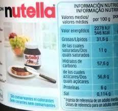 valor nutricional nutella