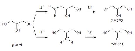 formación de 3-MCPD y 2-MCPD