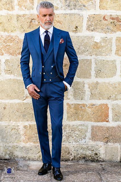 Traje italiano slim fit principe de gales azul - Paperblog ae032b48233