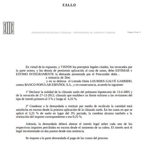 Nueva sentencia ganada contra banco popular recuperando Eliminacion clausula suelo