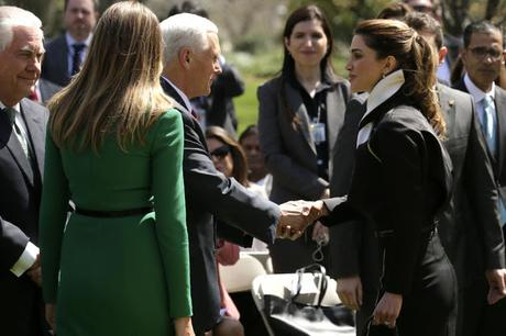 Melania visits school with Queen Rania