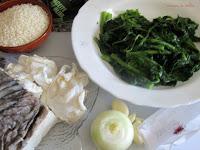 Arroz con bacalao, cocochas y grelos de Lugo