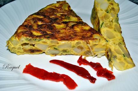 Tortilla de patata cebolla y calabac n paperblog - Tortilla de calabacin y cebolla ...