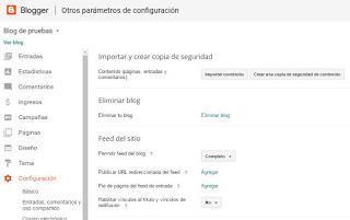 Crear copia de respaldo de contenidos Blogger