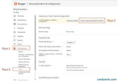 Crear un respaldo de contenidos Blogger