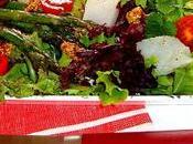 Ensalada bacalao, trigueros, vinagreta mostaza antigua