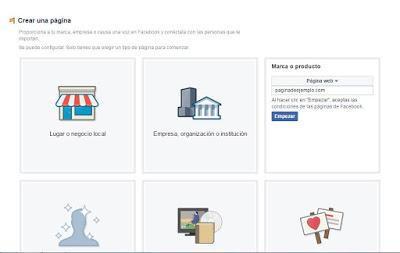 Crear página de ejemplo Facebook