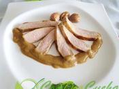 Secreto cerdo salsa castañas