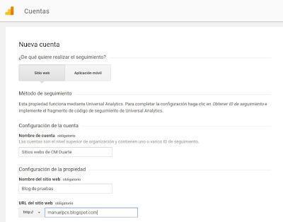 Llenando el formulario de inscripción en Google Analytics