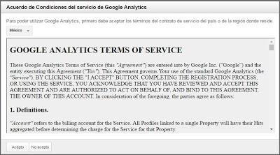 Acuerdos de Google Analytics