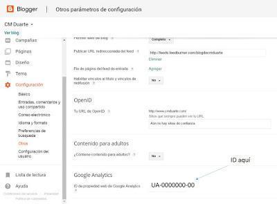 Poner id de google analytics en Blogger