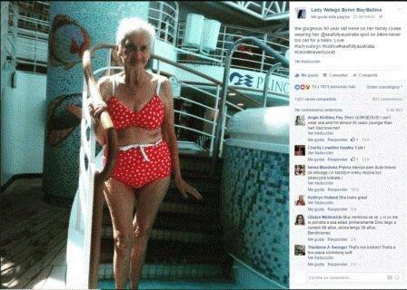 Abuela 90 años poso en bikinis causo sensación en internet