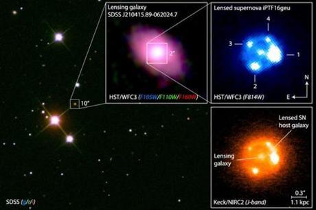 """El Hubble capta una rara supernova multiplicada por """"lupa"""" del espacio-tiempo"""