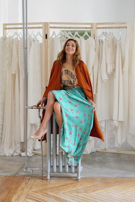 long skirt and t shirt