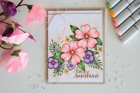 Floral Card colored with COPIC MARKERS