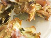 Flores alcachofas fritas mojama