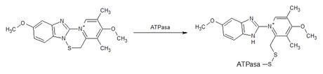 reacción omeprazol atpasa
