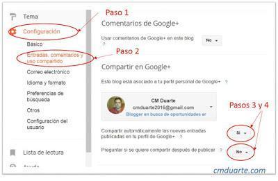Como Compartir contenido de Blogger a Google Plus