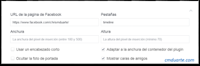 Opciones plugin pagina facebook