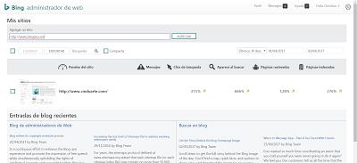Anotando dirección web en Bing Webmaster