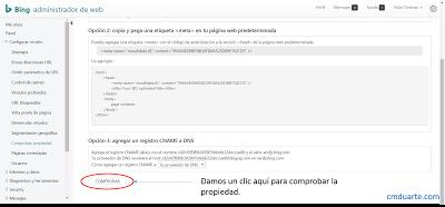 Comprobando blog en Bing Webmaster 2